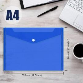 Pochette Papier plastique avec bouton DELI A4 Transparent BLEU - E10432
