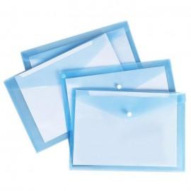 Pochette Plastique avec bouton DELI A4transparent BLEU CLAIR - E10472
