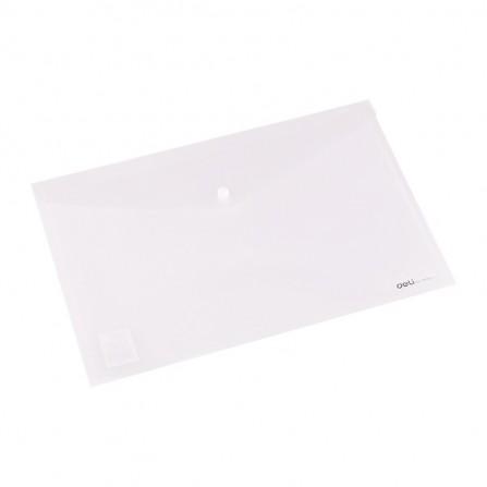 Pochette plastique avec bouton DELI A4 FC transparent Vert - E38165