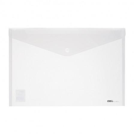 Pochette plastique avec bouton DELI A4 FC transparent - E38165