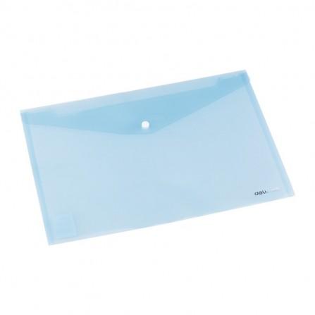 Pochette plastique avec bouton DELI A4 FC transparent BLEU - E38165