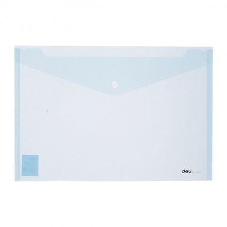 Pochette plastique avec bouton DELI A4 FC transparent BLEU CLAIR -  E38165