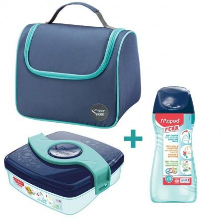 Pack Maped sac déjeuner + boîte à déjeuner + gourde - Bleu (BU-872104)