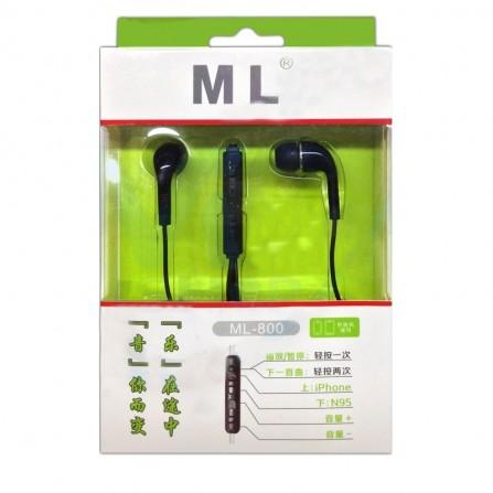 Ecouteur avec microphone ML - Noir ( ML-800)