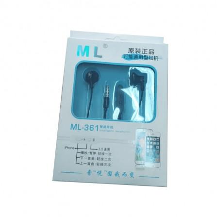 Écouteur ML avec microphone - Noir (ML-361)