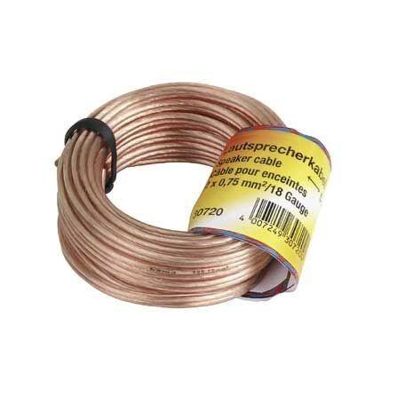 Câble d'enceintes Hama , 2 x 0,75mm², Transparent, 20,00m