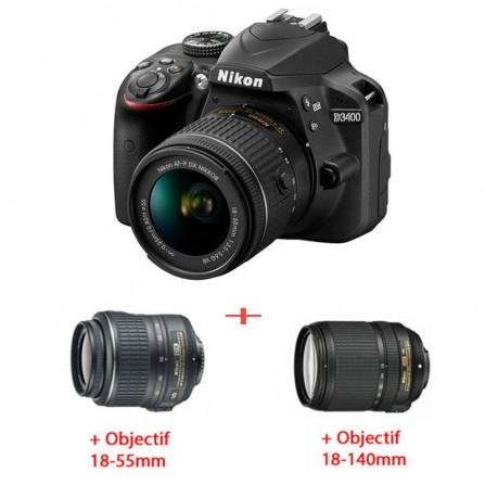 Pack Nikon D3400 +OBJECTIF 18-55 MM + OBJECTIF 18-140 MM