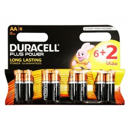 8x Piles Alcaline DURACELL Plus Power AA (5000394127234)