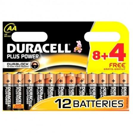 8x Piles Duracell AA Plus Power + 4 piles Offertes (5000394127265)