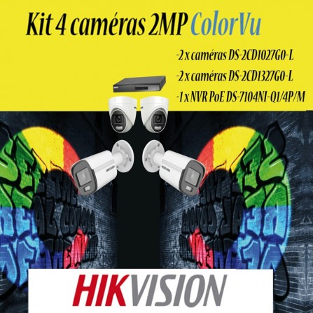 Kit 4 cameras HIKVISION 2MP colorvu