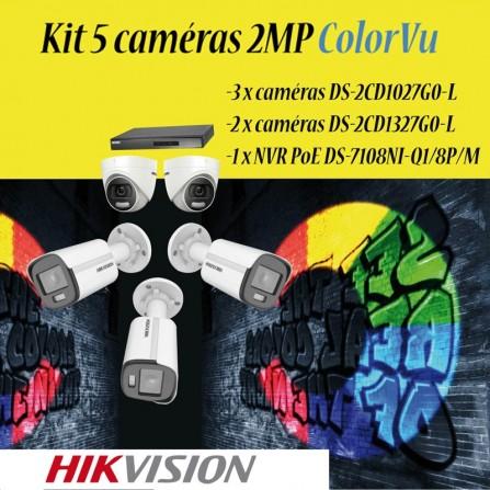 Kit 5 cameras HIKVISION 2MP colorvu