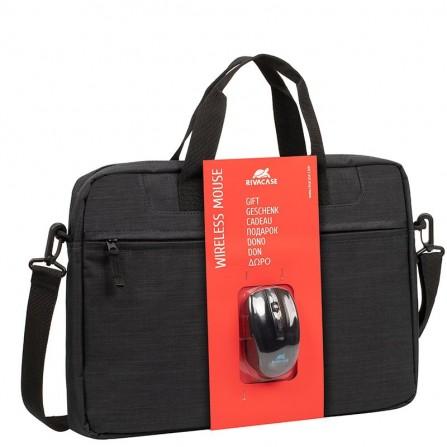 "Sacoche RIVACASE Pour PC Portable 15.6"" + Wireless mouse - Noir (8038 Black - Wireless Mouse)"