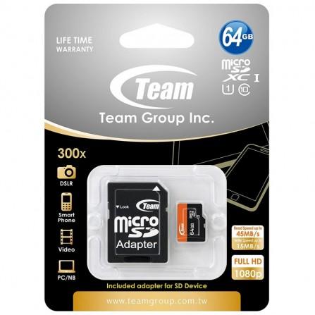 Carte Mémoire Team Micro SDXC 64 Go Class 10 + Adaptateur (TUSDX64GUHS03)