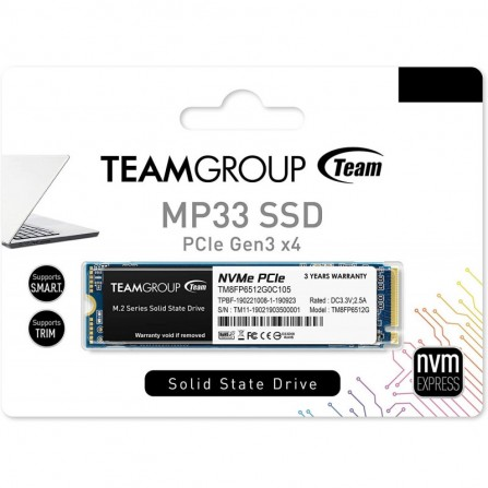 Disque Dur Interne SSD M.2 TeamGroup MP33 - 256 Go (TM8FP6256G0C101)
