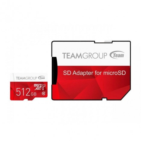 Carte Mémoire TEAM GROUP 512Go Micro SDXC Class 10 + Adaptateur (TCUSDX512GUHS54)