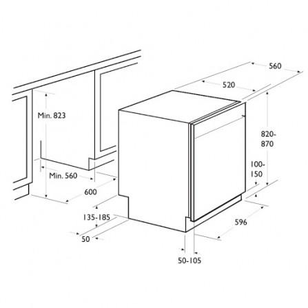 Lave Vaisselle FOCUS  12 couverts  Encastrable Inox (F501X)