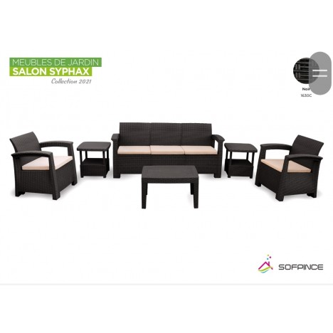 Salon Syphax Collection 2021 - Pack Confort 5 Places - Sofpince - Noir (1630C)