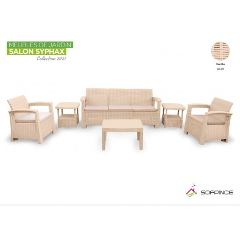 Salon Syphax Collection 2021 - Pack Confort 5 Places - Sofpince - Vanille (BE01)