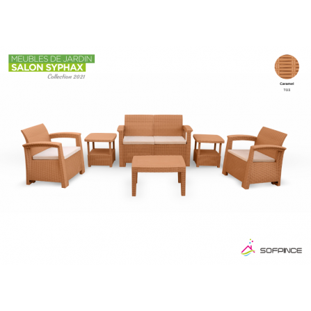 Salon Syphax Collection 2021 - Pack Confort 4 Places - Sofpince - Caramel (TO3)