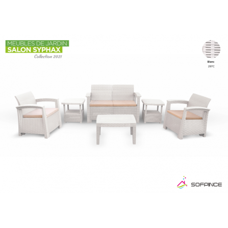 Salon Syphax Collection 2021 - Pack Confort 4 Places - Sofpince - Blanc (297C)