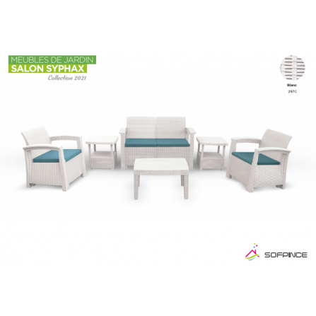 Salon Syphax Collection 2021 - Pack Confort 4 Places - Sofpince - Blanc & Vert (297C)