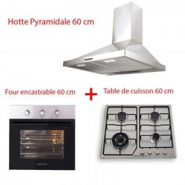 Pack AUXSTAR Four encastrable Ventilé + Plaque de cuisson + hotte Pyramidale ( BU-FAF-21210T )