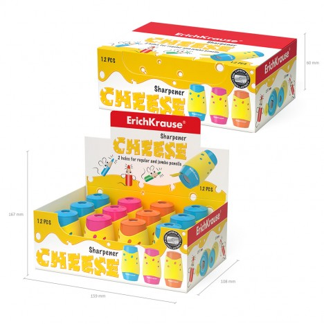 Taille Crayon en plastique à double trou ErichKrause® Cheese avec un récipient (50143)
