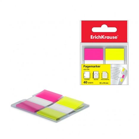 Stick-Note ErichKrause® Neon, 25x44 mm, 40 feuilles, 2 couleurs : jaune, rose (31181)