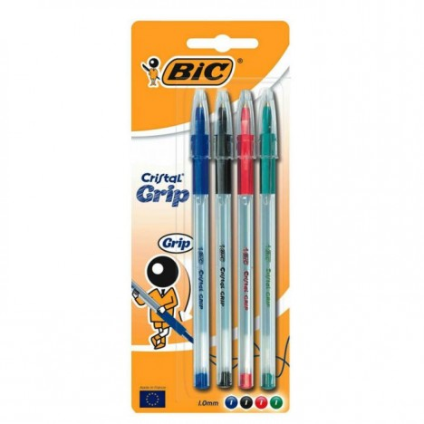 Pack de 4 Stylos BIC Cristal Grip Médium Blister assorti (802796)