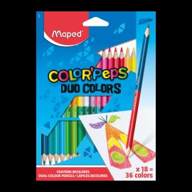 Pack de 18 Crayons MAPED couleurs Duo (829601)