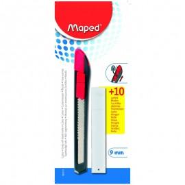 Cutteur MAPED Plastique 9 mm + 10 Lames Blister (092213)