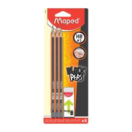 6 crayon Graphites HB +Gomme MAPED - (850017)
