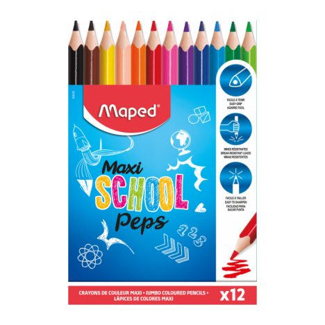 Boite de 12 Crayon  MAPED Couleur SCHOOL'PEPS MAXI - (834030)