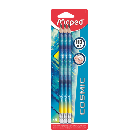 6 Crayon Graphite HB Emboue Gomme Cosmic - (851806)