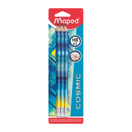 6 Crayon MAPED Graphite HB Emboue Gomme Cosmic - (851806)