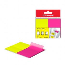 Stick Note ErichKrause® Neon - 50x75 mm - 60 feuilles - 2 couleurs : jaune, rose (31180)(4041485311805)