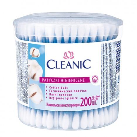 Coton tige CLEANIC 200 pcs boite ronde-(5900095000037)