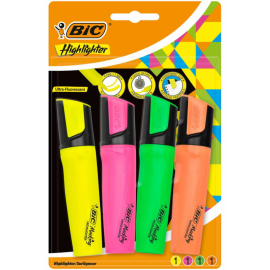 Pochette de 4 Surligneurs BIC Highlighter Flat - (461277)(61314)