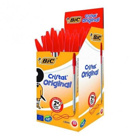 Pack de 50 Stylo à bille BIC Cristal Medium -Rouge  (BIC-50-RG)
