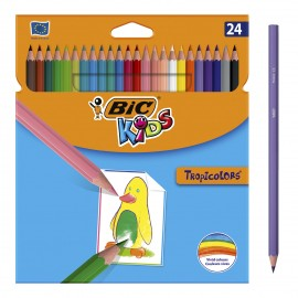 Pack de 24 Crayons Couleurs BIC Tropicolors - (8297332)
