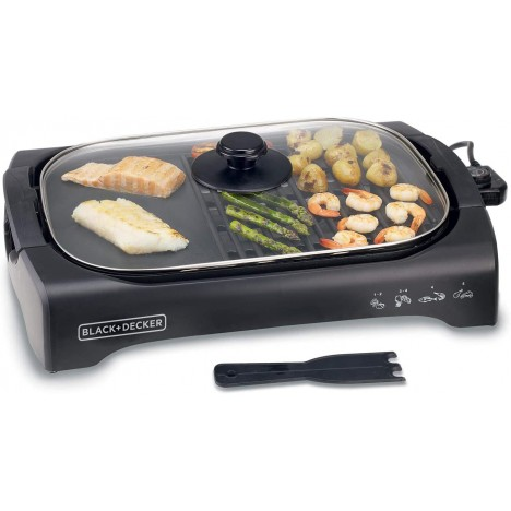 Barbecue Avec Couvercle en Verre - Black & Decker - 2200W - Noir (LGM70-B5)