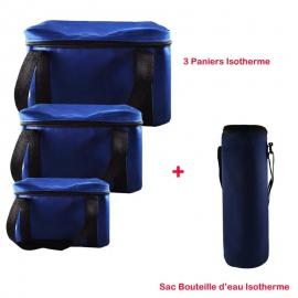 Pack Trois Paniers + Sac Bouteille Isotherme - Bleu (BU-PANIER-BLEU)