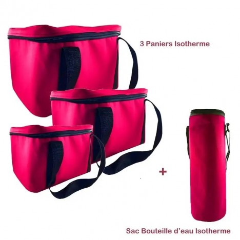 Pack Trois Paniers + Sac Bouteille Isotherme - Rose (BU-PANIER-ROSE)