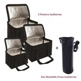 Pack Trois Paniers + Sac Bouteille Isotherme - Noir (BU-PANIER-NOIR)