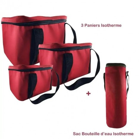 Pack Trois Paniers + Sac Bouteille Isotherme - Rouge (BU-PANIER-ROUGE)