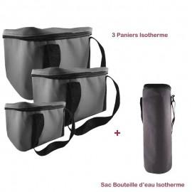 Pack Trois Paniers + Sac Bouteille Isotherme - Gris (BU-PANIER-GRIS)