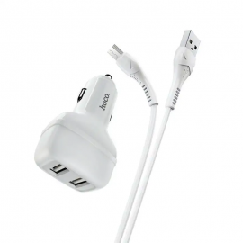 Chargeur Voiture Hoco Z36 2,4A double USB pour Micro - Blanc (Z36-MWH)