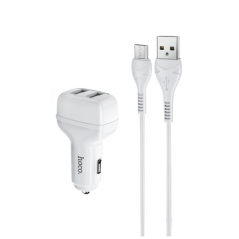 Chargeur Voiture HOCO Z36 2,4A double USB pour Type-C - Blanc (Z36-CWH)