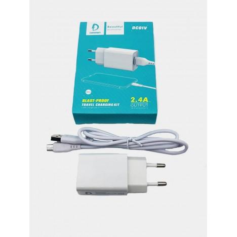 Chargeur Denmen micro USB - Blanc (DC01V)