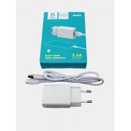 Chargeur Denmen 2.4A avec câble micro USB - Blanc (DC01V)